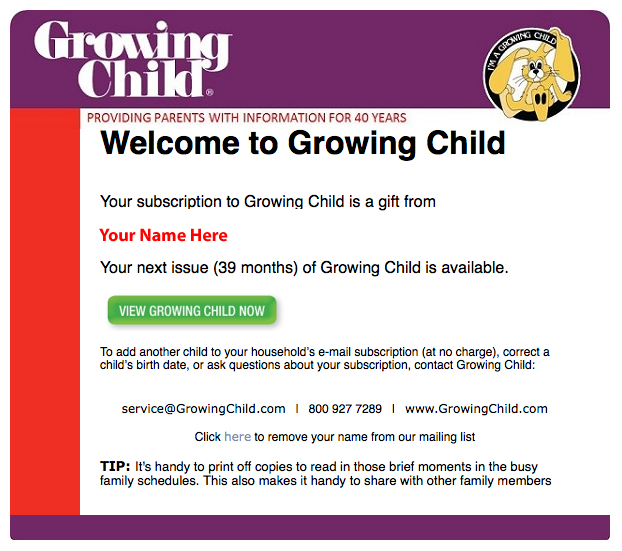 gift giver sponsor program growing child